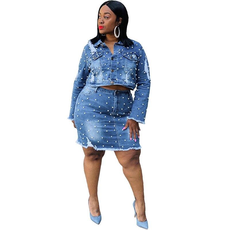 European Style Denim Set Woman Two Piece Set Top And Skirt 2piece Set Women Plus Size Drop Shipping