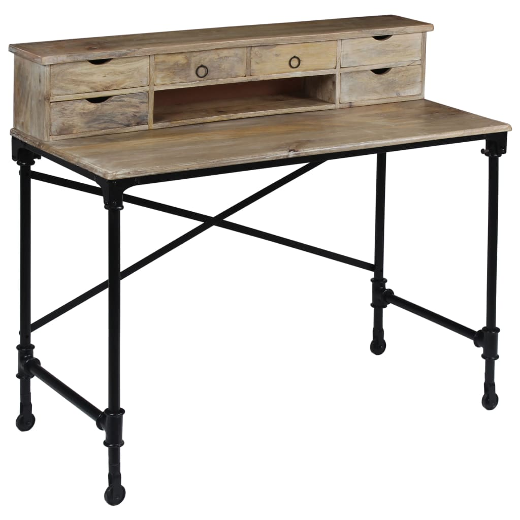 VidaXL Writing Desk Solid Mango Wood And Steel 110x50x96 Cm