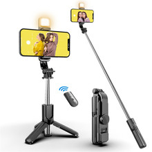 Wireless Bluetooth Selfie Stick Foldable Handheld Monopod Expandable Tripod With LED Light Remote Shutter For Ios Android Phone