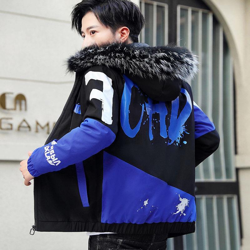 Fashion Winter Jacket Men Big Cool Fur Collar Casual Parka Outwear Thicken Warm Hooded Outwear Coat