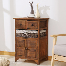 Furniture Beside-Cabinet Bedroom Storage-Table Wooden Living-Room Nordic Retro-Style