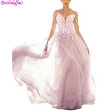 Romantic Tulle Appliques Spaghetti Straps Wedding Dress Open Back Long Train Pink Bridal Dresses Dressvestido madrinha