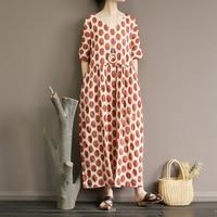 Salt shrinkage process pure cotton large wave point skirt woman cotton tall super long to ankle waist tie dress