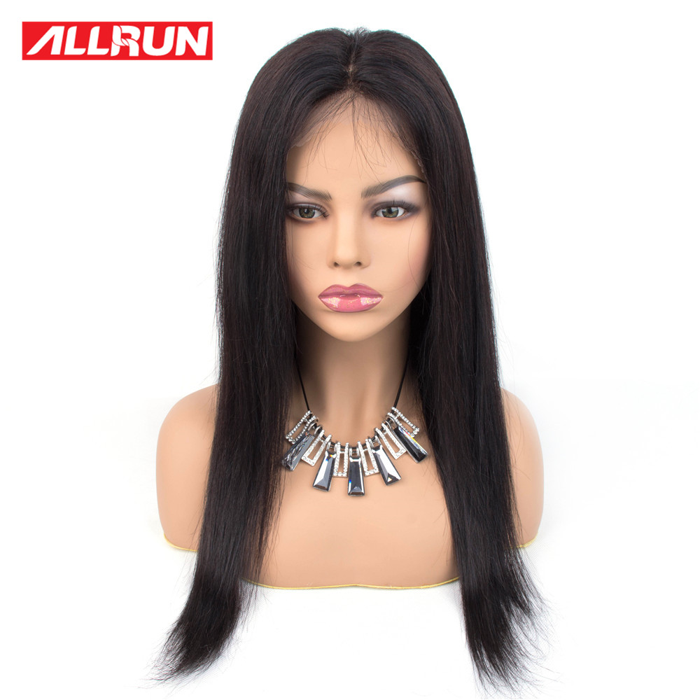 Allrun 360 Lace Frontal Human Hair Wigs With Baby Hair Remy Wig Brazilian Straight Hair Lace Front Wig Natural Color Pre Plucked