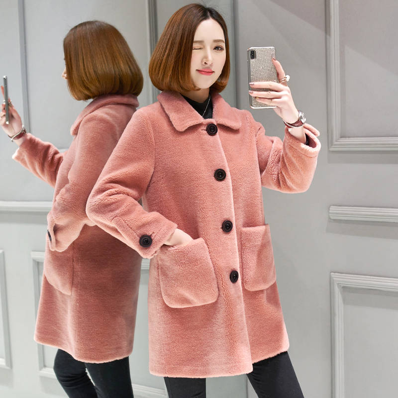 2019 Autumn Winter Female Natural Sheep Shearing Fur Jacket Women Real 100% Wool Fur Coats Clothes Fashion Korean Outwears A99