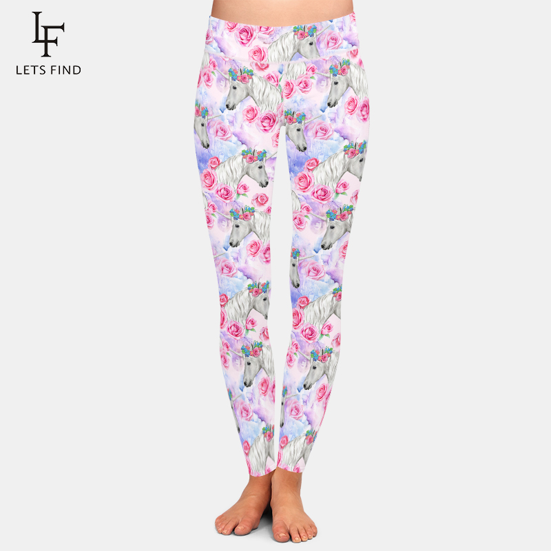 LETSFIND Fashion Plus Size 3D Unicorns And Flowers Printing Women Leggings High Waist Women Soft Fitness Leggings