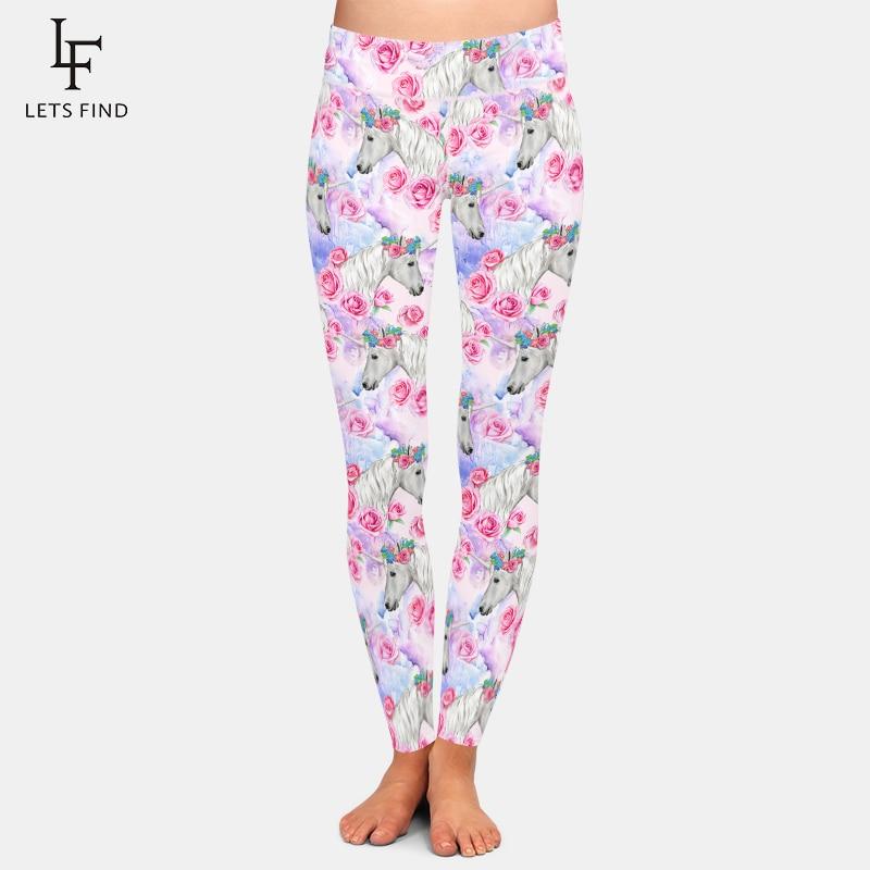 LETSFIND Fashion Plus Size 3D Unicorns And Flowers Printing Women Leggings High Waist Women Soft Fitness Leggings