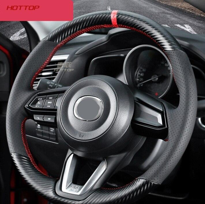 Couvre-volant bricolage/tresse en cuir de Fiber souple sur le volant de voiture avec aiguille pour Mazda CX5 CX5 2018