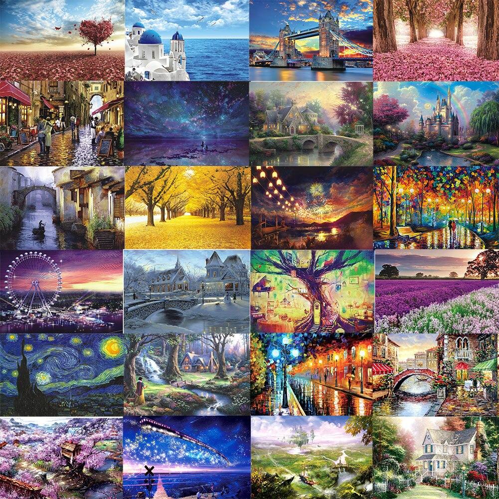 종이 지그 소 퍼즐 풍경의 1000 조각 아름다운 퍼즐 성인 슈퍼 어려운 지능 퍼즐 어린이 퍼즐 장난감