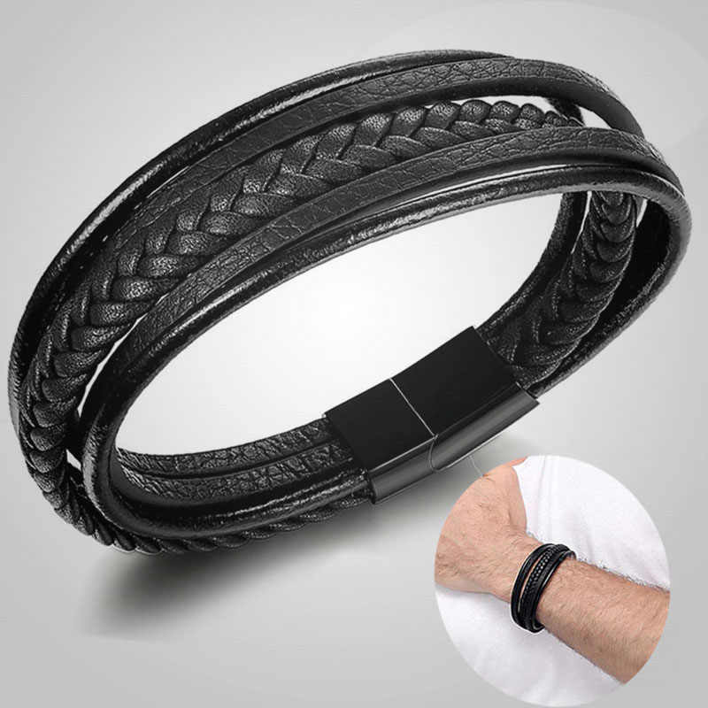 Braided Leather Bracelet for Men Bangle Wrap Stainless Steel Magnetic-Clasp Bangles pulseras mujer moda 2019