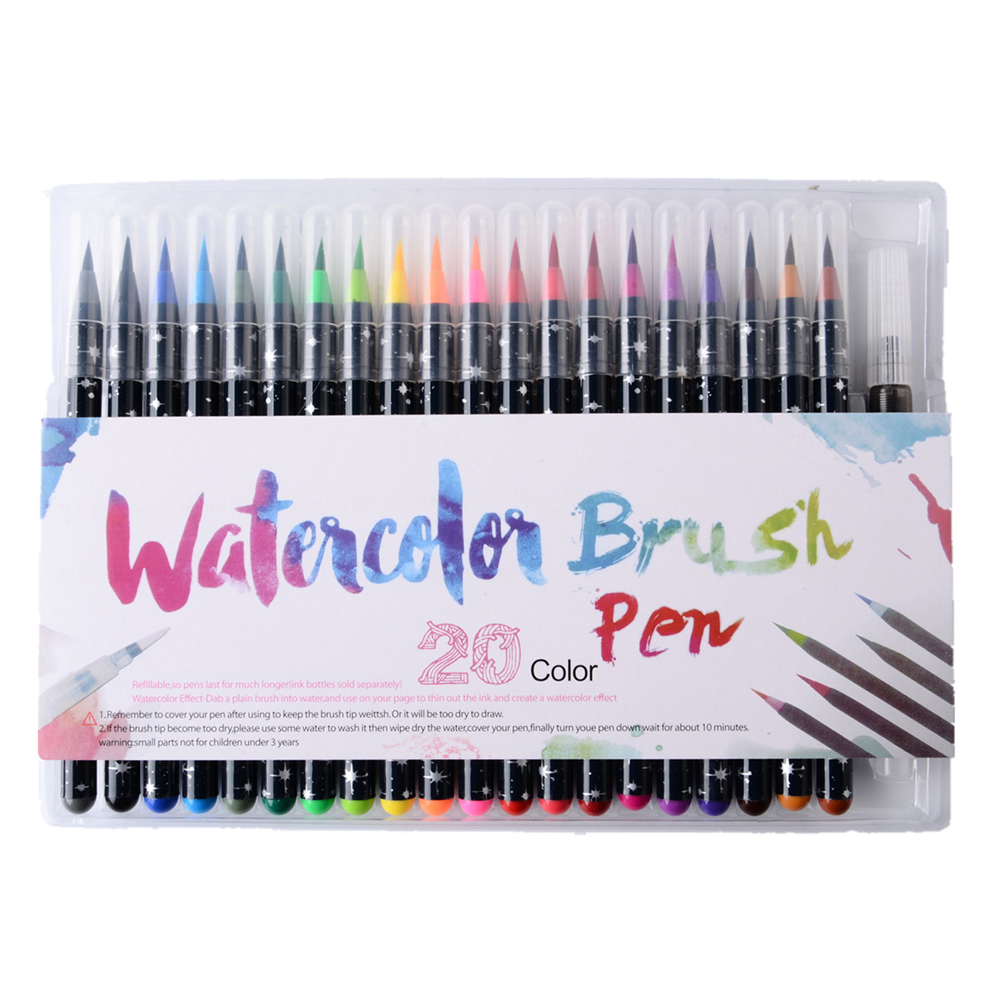 20 Colors Watercolor Brush Pen Set Soft Waterbrush Art  For School Supplies Stationery Drawing Coloring Books Manga Calligraphy