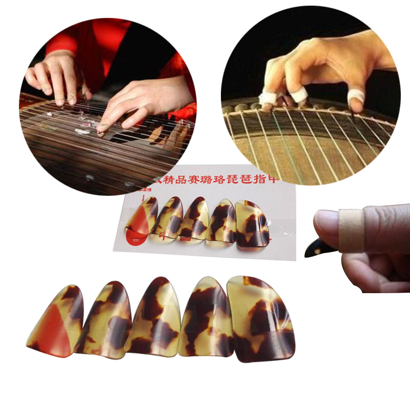 5PCS/Set Guzheng Finger Picks Large Tortoiseshell Color Gu Zheng Nail Withe