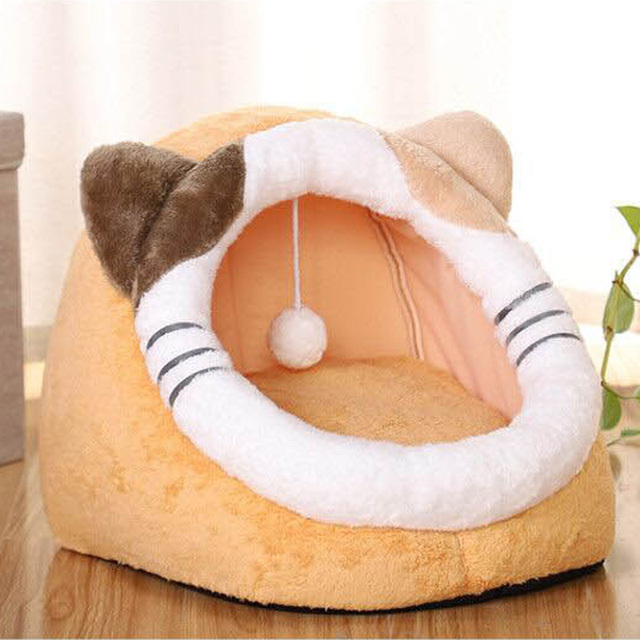 Pet Cat Bed Indoor Kitty House Cute animal Warm Small for cats Dogs Nest Collapsible Cat Cave Cute Sleeping Mats Winter Products 6