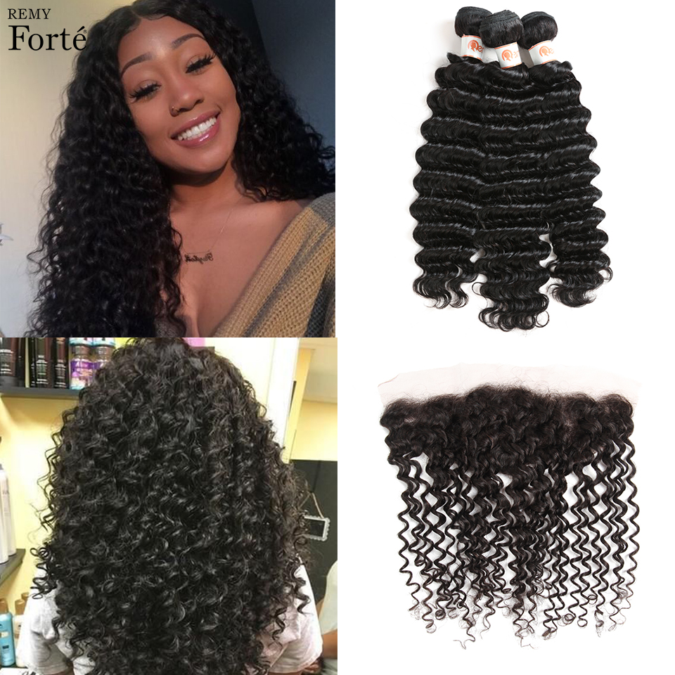 Remy Forte Deep Wave Bundles With Closure 30 Inch Bundles With Frontal Brazilian Hair Weave Bundles 3/4 Bundles With Frontal