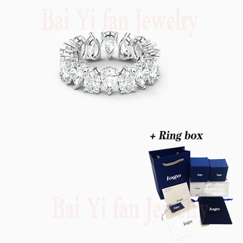 2020 Fashion Jewelry SWA New VITTORE PEAR Ring Charming Drop-Shaped Decoration Female Engagement Ring Romantic Jewelry Gift недорого
