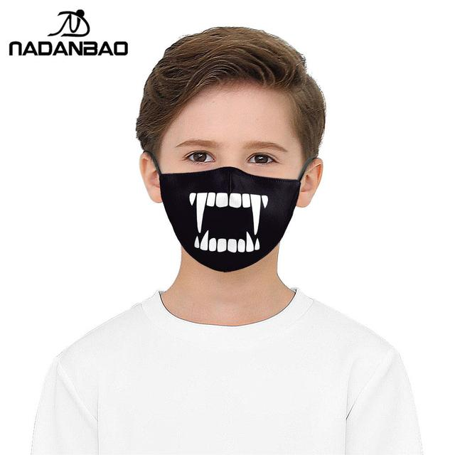 NADANBAO Cute Tooth Series Print Face Children Mask Black Washable Fabric Adult Kid Mask Reusable Mask Cover Cartoon 4