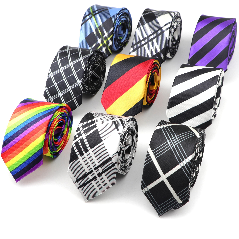 Men's Slim Tie Striped Plaid Rainbow Necktie 145CM Length 5CM Width Party Pub Fashion Skinny Ties For Suit Shirt Accessories