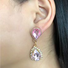 Water Drop Earrings Pink Crystals from Swarovski Elegant Jewelry for Girl Women Party Exquisite Gift(China)