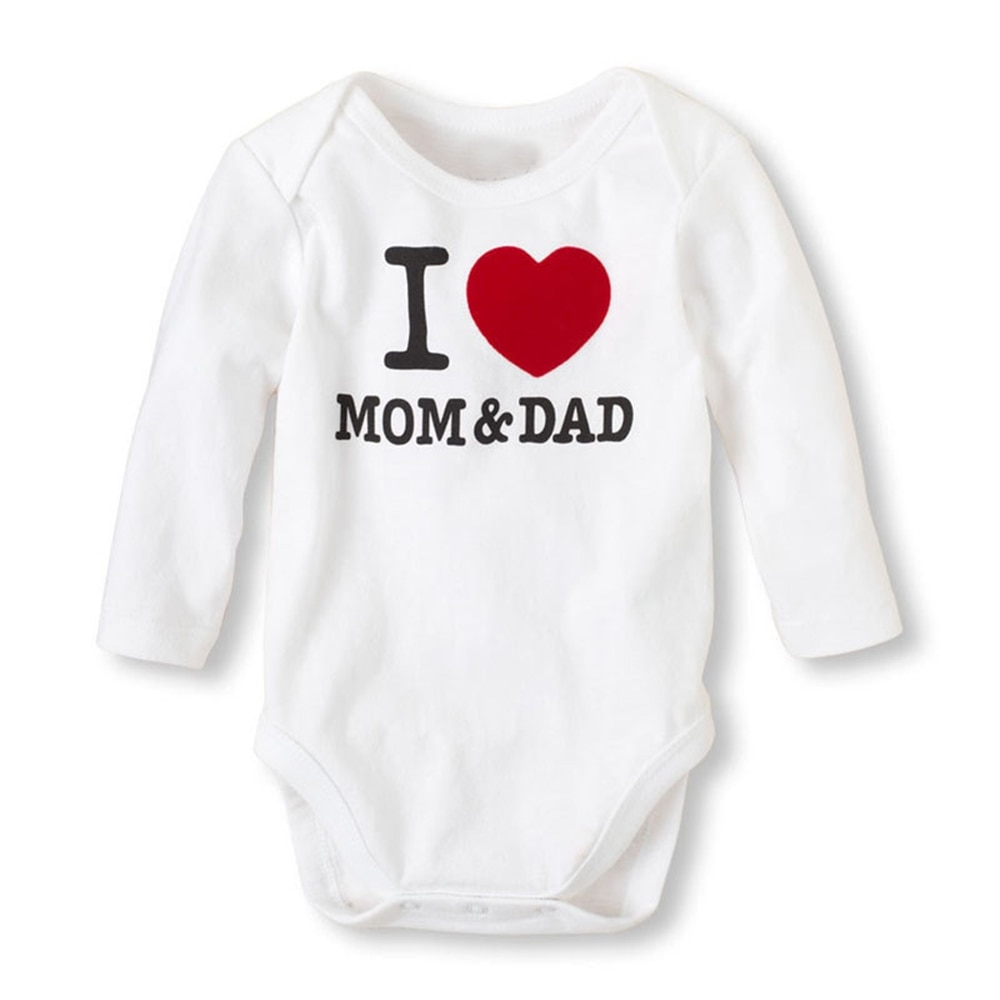 CYSINCOS Baby Boys Girls Romper Cotton Long Sleeve Letter Print I Love Mom & Dad Jumpsuit Infant Clothing Autumn Newborn Clothes