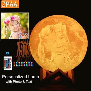 Image 1 - Dropship Foto/Texto Personalizado Lua Luz Da Noite Da Lâmpada 3D Impressão Recarregável Personalizado Sincronismo Luz Da Lua Presente para As Crianças, namorada