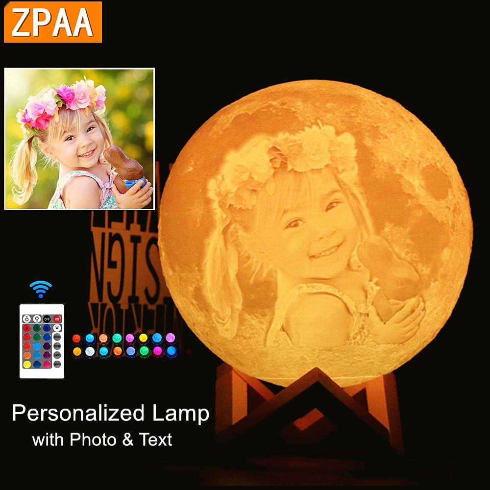 Foto/texto Dropship lámpara de Luna personalizada luz de noche impresión 3D recargable sincronización personalizada Luz de luna regalo para niños, novia|Luces de noche LED|   - AliExpress