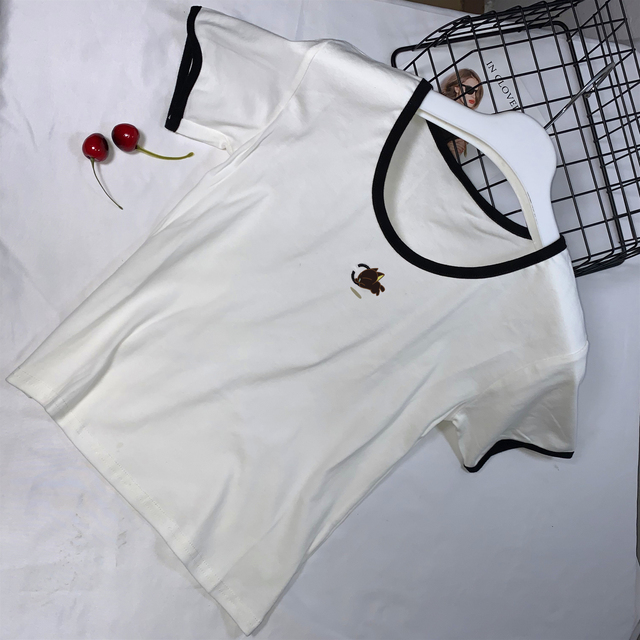 summer women's French classic low collar round neck short-sleeved t-shirt tight bottoming shirt was thin sexy shir