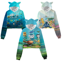 Girls Octonauts 3D Print Cat Ear Hoodies Toddler Cute Crop Tops Kids Cartoon Sweatshirts Children Anime Pullovers Coat Sudadera