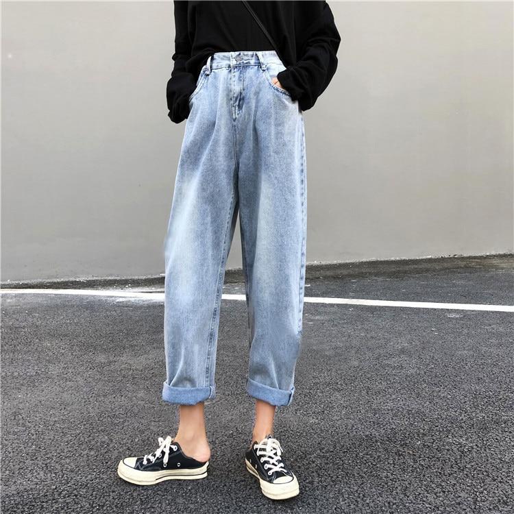 Women high waist boyfriend   jeans   for women mom   jeans   dropshipping new spring Cotton blue denim harem pants