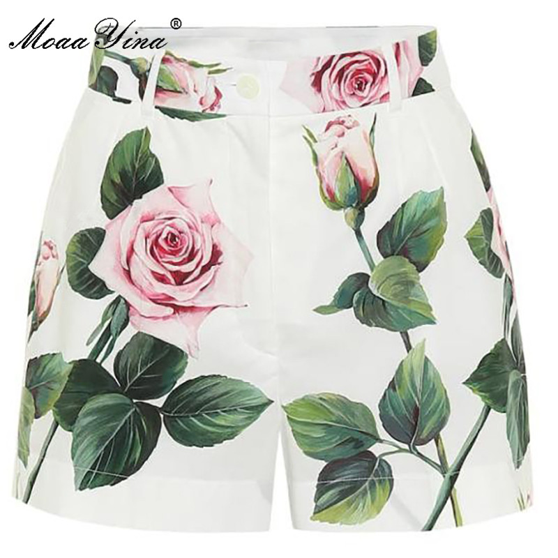 MoaaYina Summer Women Rose Floral-Print Cotton Shorts