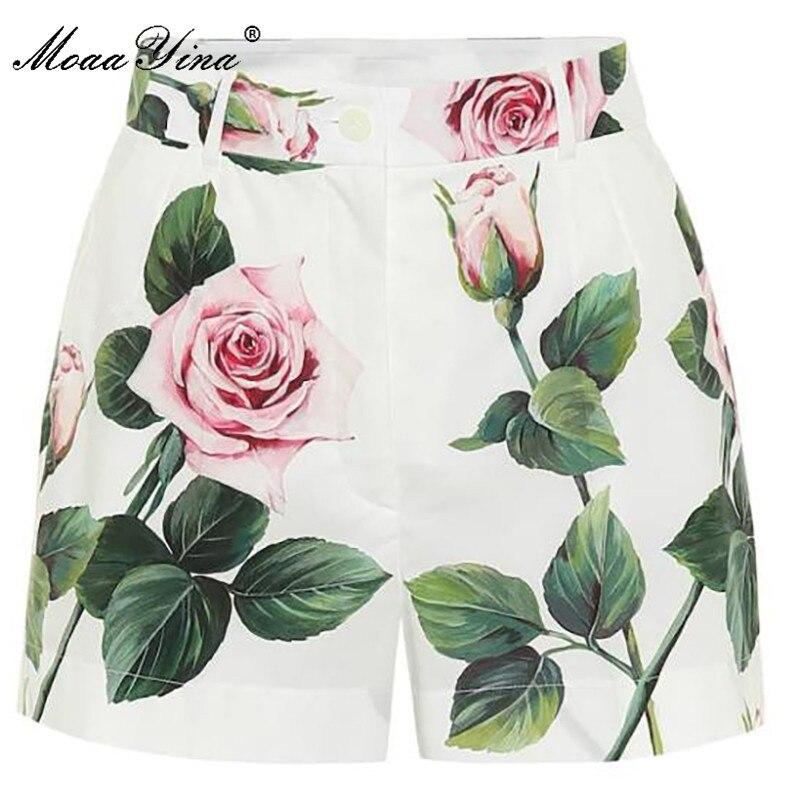 MoaaYina Summer Women Rose Floral-Print Cotton Shorts