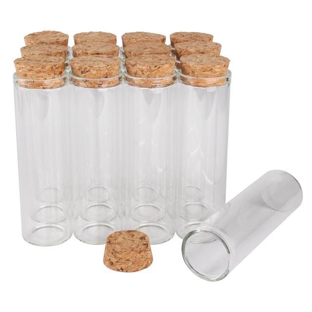24 قطعة 50 مللي حجم 30*100 مللي متر أنبوب اختبار مع سدادة الفلين زجاجات توابل جرار الحاويات قوارير DIY الحرفية