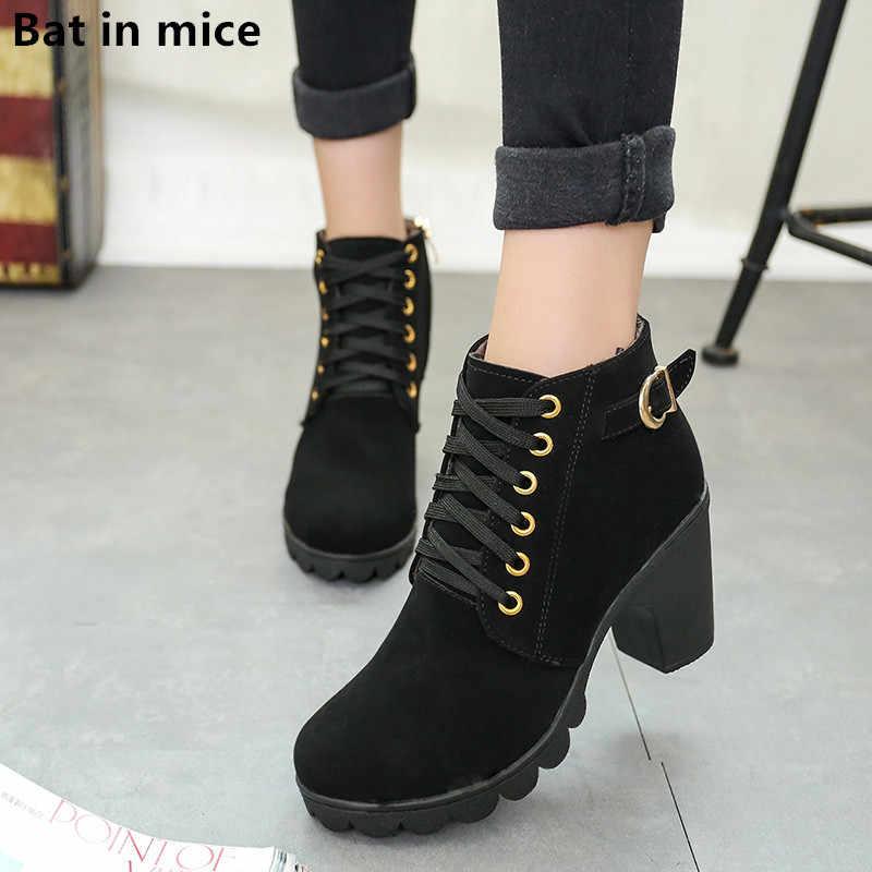 Gümrükleme kışlık kadın platformu yüksek topuklu yarım çizmeler kadın çizmeler kalın topuk kısa Martin kar Martin çizmeler bayanlar mujer W047
