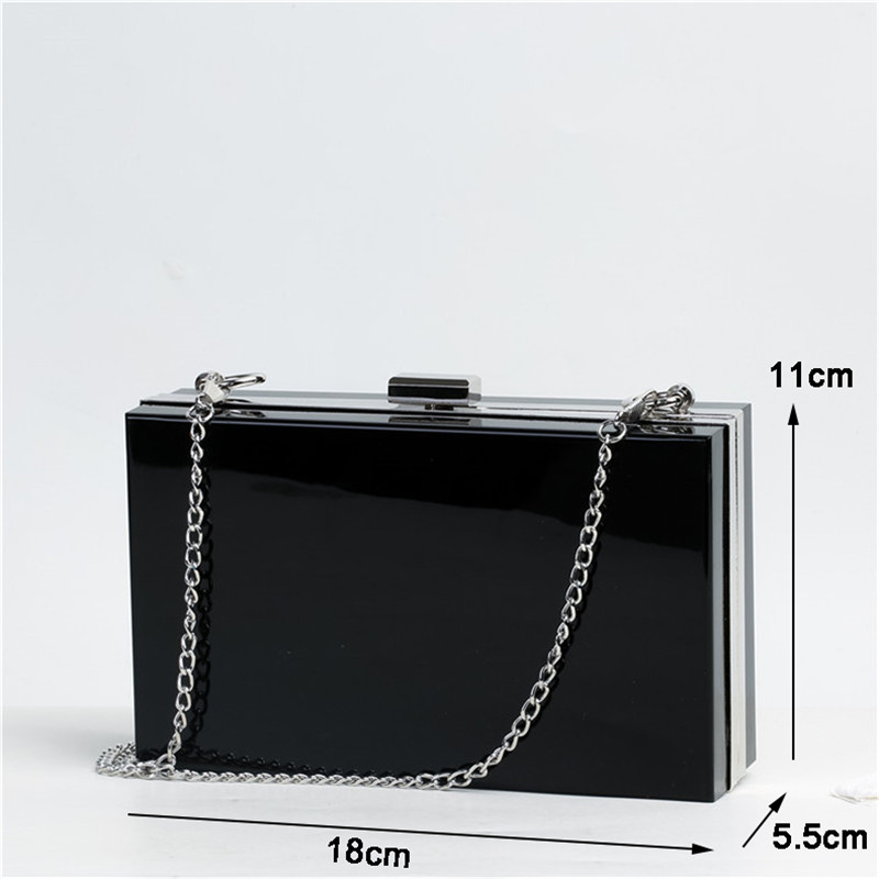 Image 5 - Transparent Acrylic Bags Clear Clutch Purses Box Women Shoulder Bags Day Clutches Bags Wedding Party Evening Clutches HandbagsClutches   -