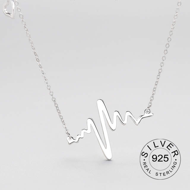 925 Sterling Silver Necklace ECG Silver Necklace Pendant For Women And Men Fashion Fine Jewelry Gift Accessories