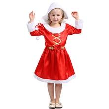 Hooded Festive Dress Long Sleeve O-neck Kids Dresses for Girls Christmas Girl  Childrens
