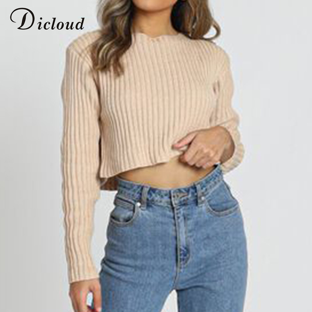 Long Sleeve Short Top Fashion Knitted Pullover Ladies