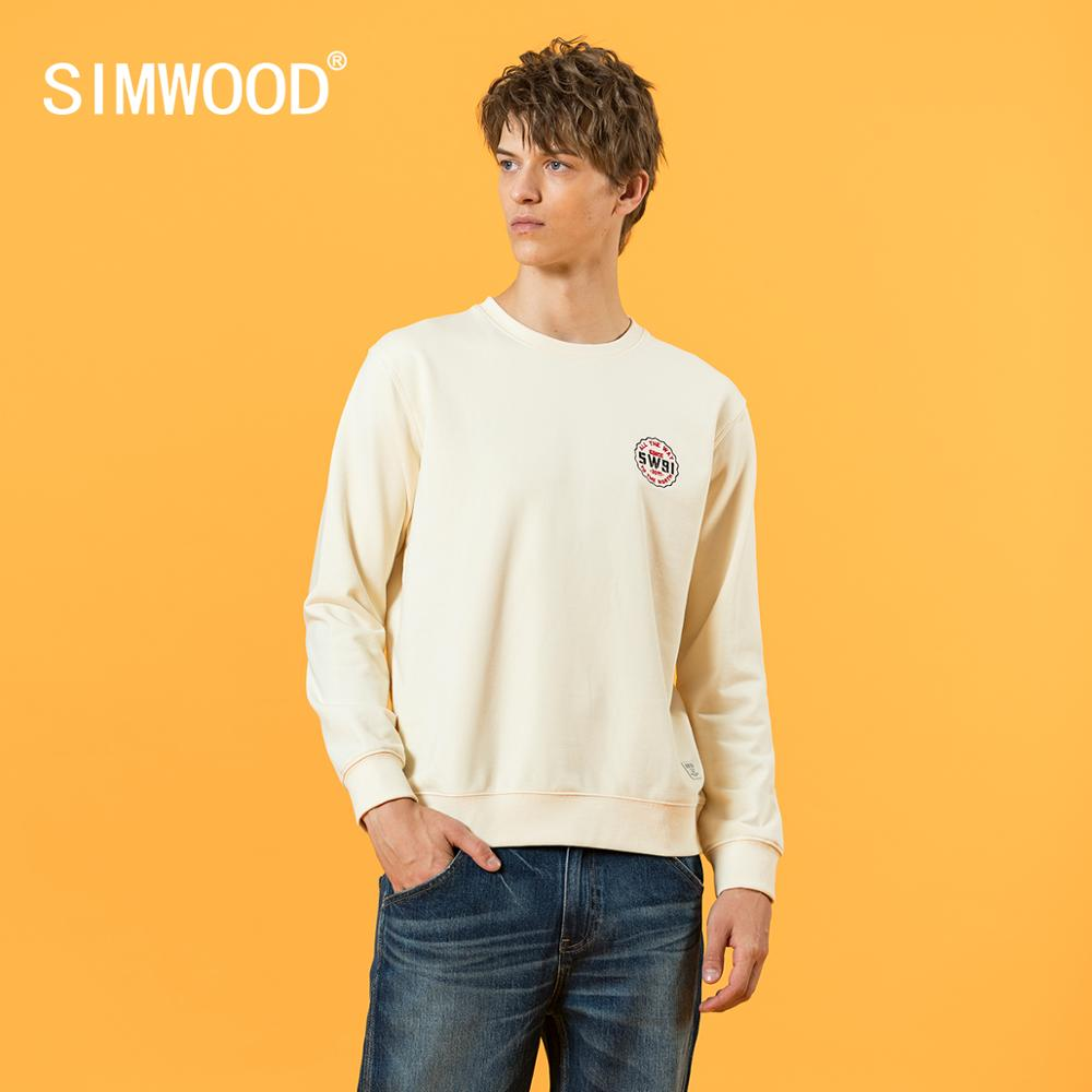SIMWOOD 2020 Autumn Winter New Embroidery Basic Logo Sweatshirts Men Thick Casual Sweatshirts Plus Size Jogger Pullover SJ120637