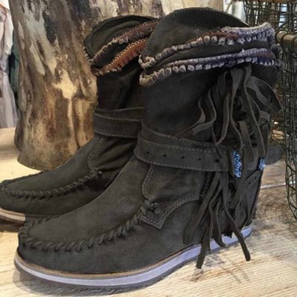 2019 sonbahar bohem botları bayan daireler kalın alt ayakkabı bayanlar yuvarlak ayak Retro Fringe kalın alt yarım çizmeler ayakkabı patik