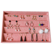 Pink Velvet  DIY Jewelry Storage Tray Ring Bracelet Gift Box Jewellery Organizer Case Tray Holder Necklace Earrings Bangle