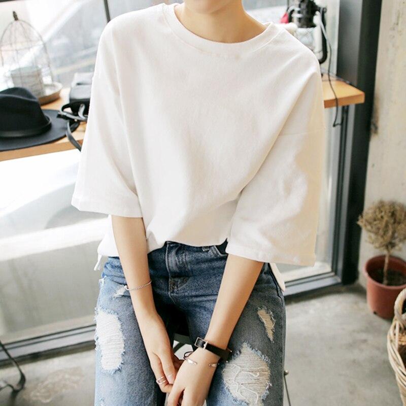 T-shirt blanc femme manches courtes lâche 2019 nouvelle version coréenne 100 tour pur coton demi-manches étudiants couleur unie