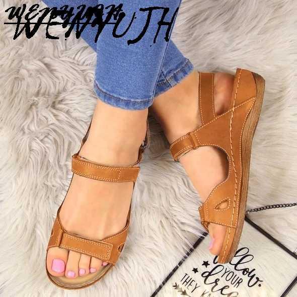 PU deri ayakkabı kadın sandalet için rahat yaz ayakkabı Flop Platform sandaletler 2020 bayanlar moda düz Peep Toe sandalet