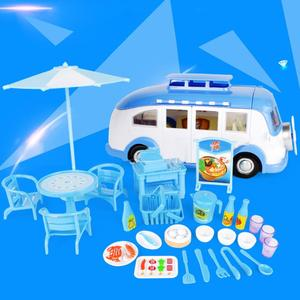 Image 5 - 어린이 귀여운 미니 캠핑카 시뮬레이션 플라스틱 핑크 Motorhome 차량 인형 집 가구 액세서리 바비 인형 놀이 장난감