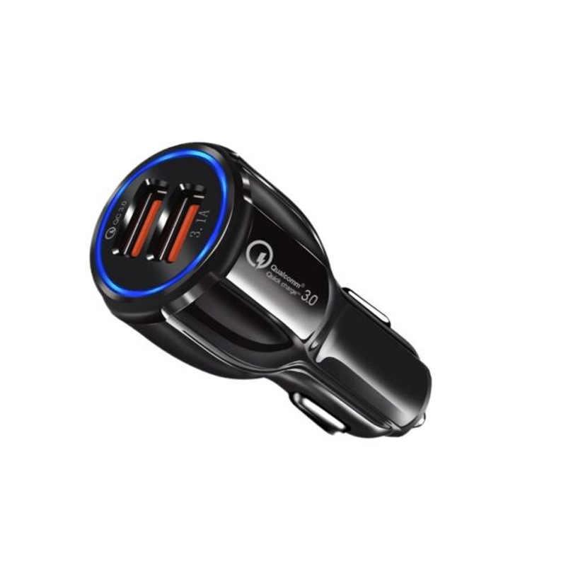 Qc 3.0 carregamento rápido universal plug carregador de carro 3.1a carregamento do carro duplo usb qc3 0 carregamento do carro rápido para o telefone