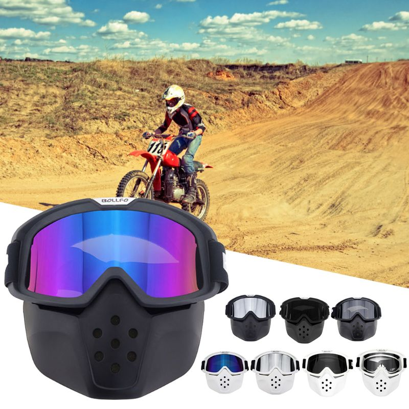 Motorcycle Goggle Face Mask Detachable Motocross Eyewear for Riding Skiing Snowmobile Cycling