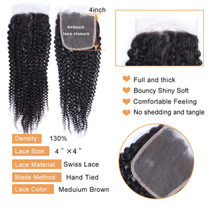 Image 3 - BOBBI COLLECTION Afro Kinky Curly 2/3 Bundles With 4*4 Lace Closure Indian Remy Human Hair Weave Bundles Extensions