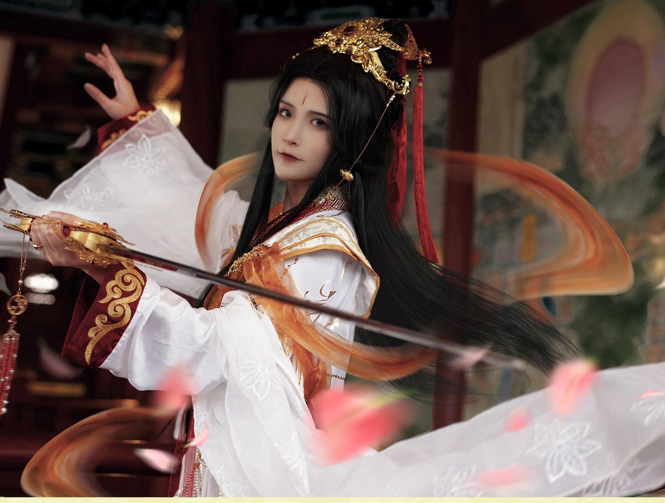 Костюм Принца юэшена, белого и золотого цвета, Костюм Принца ханьфу для аниме «небеса», официальное благословение, Cos Xie Lian, комплект аксессу