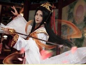 Костюм Принца юэшена, белого и золотого цвета, костюм ханьфу для аниме «небеса», официальная честь, потому что се лиан с набором аксессуаров ...