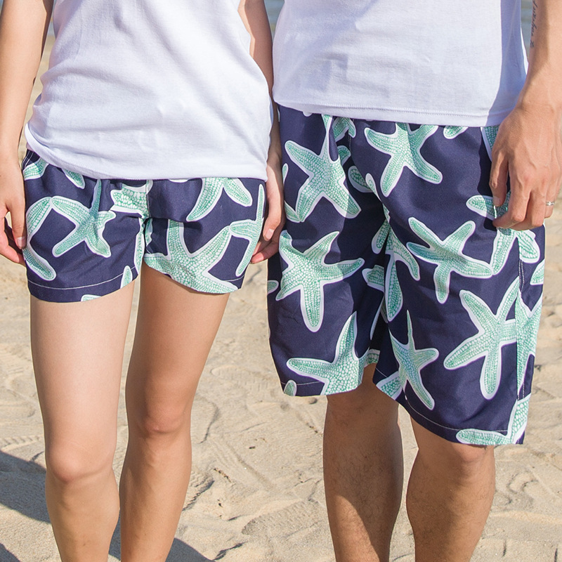 Special Offer Shang Hai Feng Europe And America Green Starfish Couples Beach Shorts Surfing Men's Shorts Quick Drying Pants