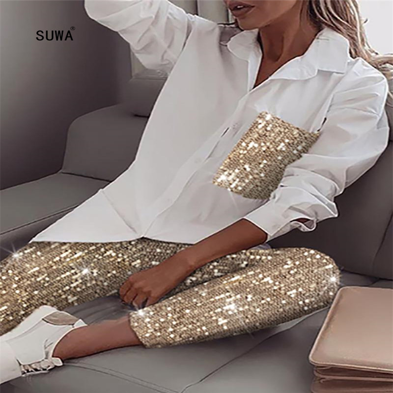 Gold Sequined Patchwork 2 Piece Set Fashion Office Lady Turn-down Collar Button Up Shirt And Pencil Trousers Women's Suit