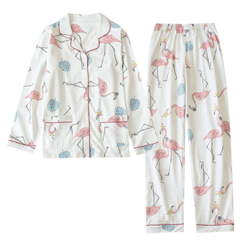 Las mujeres de algodón Pijama Invierno Mujer conjunto de pijamas de primavera y otoño Set de ropa para casa nueva Flamingo ropa de dormir pijamas traje